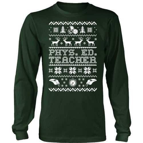 Phys Ed - Ugly Sweater - District Long Sleeve / Dark Green / S - 1