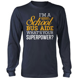 School Bus Aide - Superpower - District Long Sleeve / Navy / S - 10