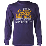 School Bus Aide - Superpower - District Long Sleeve / Purple / S - 11