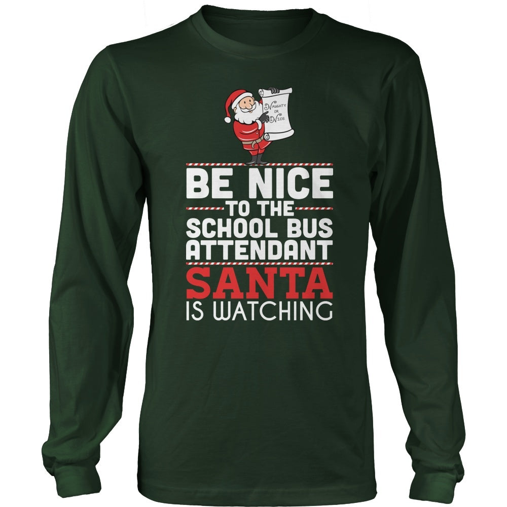 3a3cfda3 School Bus Attendant - Be Nice Holiday - District Long Sleeve / Dark Green  / S