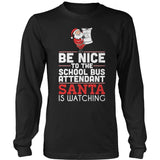 School Bus Attendant - Be Nice Holiday - District Long Sleeve / Black / S - 2