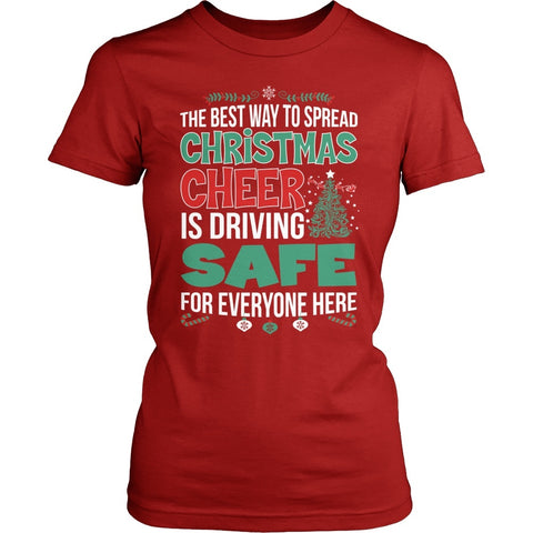 School Bus Driver - Christmas Cheer - District Made Womens Shirt / Red / S - 1