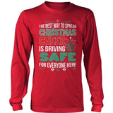 School Bus Driver - Christmas Cheer - District Long Sleeve / Red / S - 8