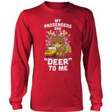 School Bus Driver - Deer to Me - District Long Sleeve / Red / S - 2