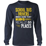 School Bus Driver - Go Places - District Long Sleeve / Navy / S - 10