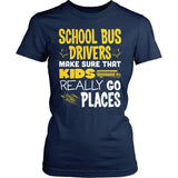 School Bus Driver - Go Places - District Made Womens Shirt / Navy / S - 3