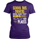 School Bus Driver - Go Places - District Made Womens Shirt / Purple / S - 4