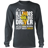 School Bus Driver - Illinois Cooler - District Long Sleeve / Charcoal / S - 6