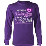 School Bus Driver - School Bus Full of Valentines - District Long Sleeve / Purple / S - 1
