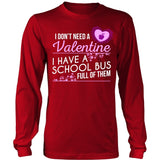 School Bus Driver - School Bus Full of Valentines - District Long Sleeve / Red / S - 7