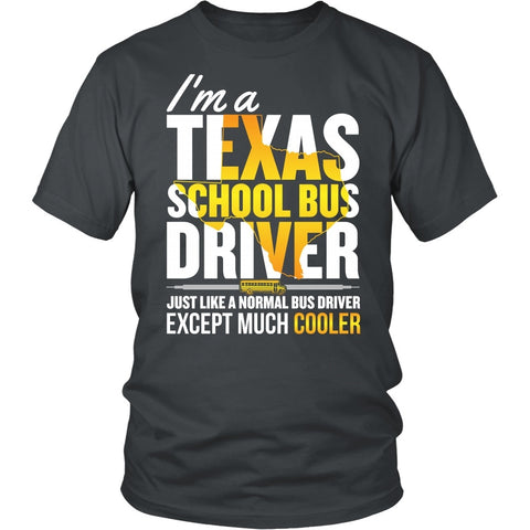 School Bus Driver - Texas Cooler - District Unisex Shirt / Charcoal / S - 1