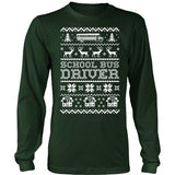 School Bus Driver - Ugly Sweater - District Long Sleeve / Dark Green / S - 1