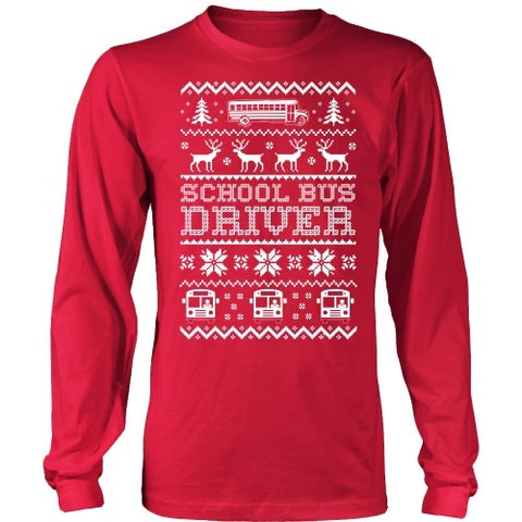 School Bus Driver - Ugly Sweater - District Long Sleeve / Red / S - 4