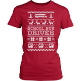 School Bus Driver - Ugly Sweater - District Made Womens Shirt / Red / S - 8