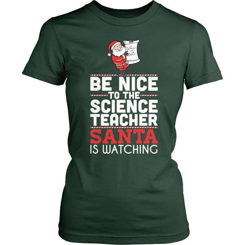 Science - Be Nice Holiday - District Made Womens Shirt / Forest Green / S - 1