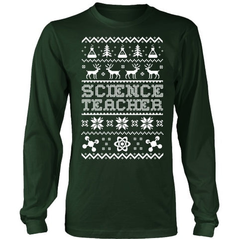 Science - Ugly Sweater - District Long Sleeve / Dark Green / S - 1