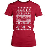 Science - Ugly Sweater - District Made Womens Shirt / Red / S - 8
