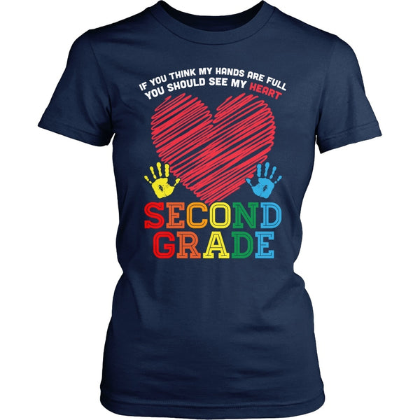 Second Grade - Full Heart - District Made Womens Shirt / Navy / S - 1