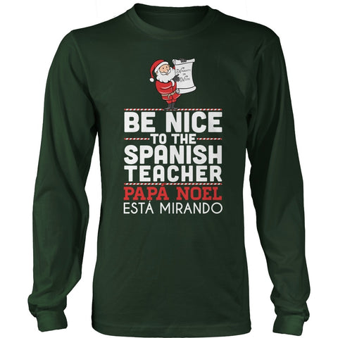 Spanish - Be Nice Holiday - District Long Sleeve / Dark Green / S - 1