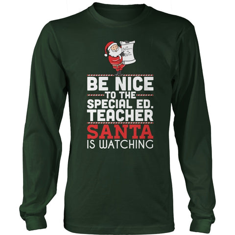 Special Education - Be Nice Holiday - District Long Sleeve / Dark Green / S - 1