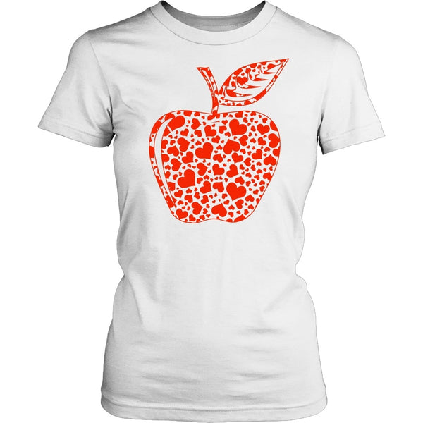 Teacher - Apple Hearts - District Made Womens Shirt / White / S - 1