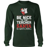 Teacher - Be Nice Holiday - District Long Sleeve / Dark Green / S - 5