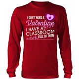 Teacher - Classroom Full of Valentines - District Long Sleeve / Red / S - 7