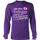 Teacher - Classroom Full of Valentines - District Long Sleeve / Purple / S - 8