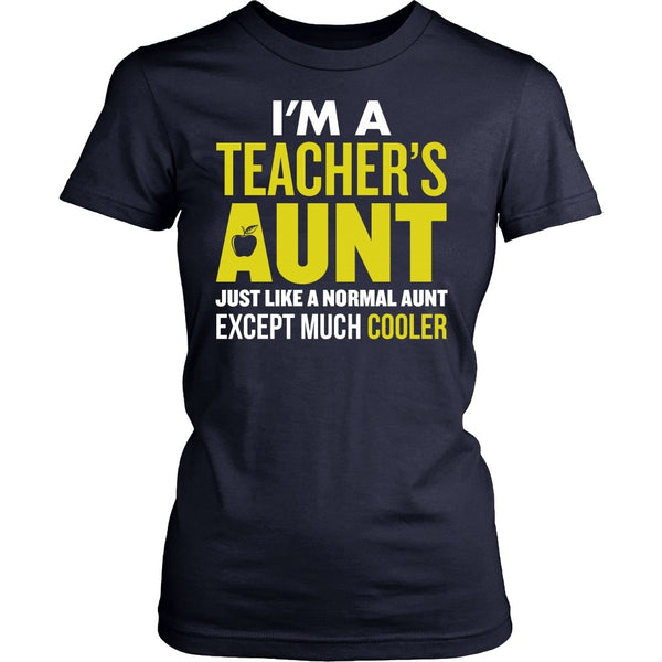 Teacher - Cooler Aunt - District Made Womens Shirt / Navy / S - 1