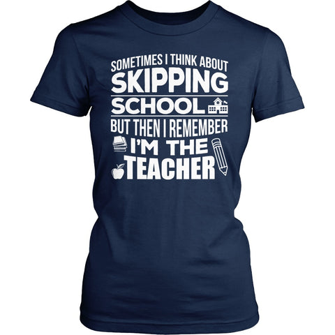 Teacher - Skipping - District Made Womens Shirt / Navy / S - 1