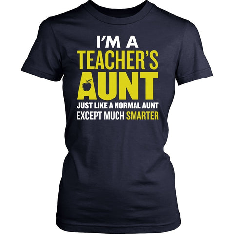Teacher - Smarter Aunt - District Made Womens Shirt / Navy / S - 1