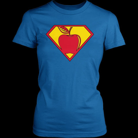 Teacher - Superman - District Made Womens Shirt / Royal / S - 1