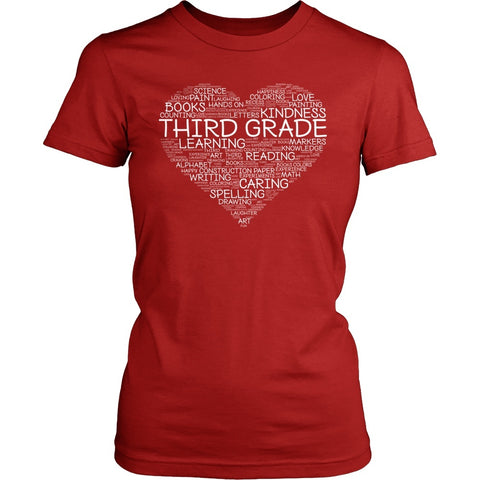 Third Grade - Heart - District Made Womens Shirt / Red / S - 1