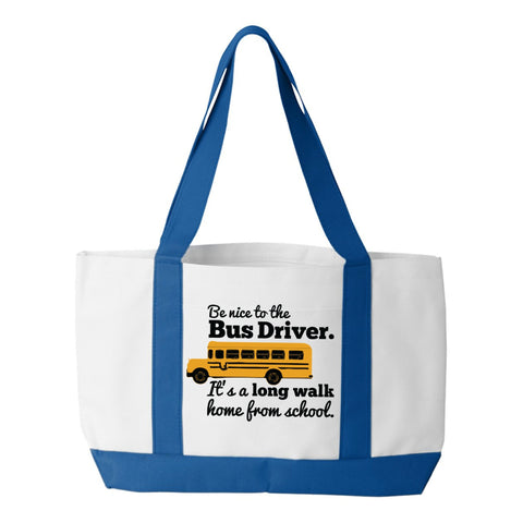 School Bus Driver - Be Nice - White / Royal - 1
