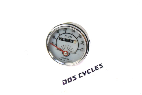 Huret White and Chrome 40mph Speedometer