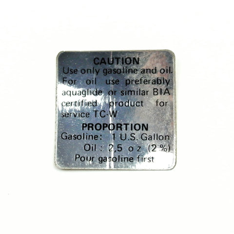 Oil Mixture Caution Sticker