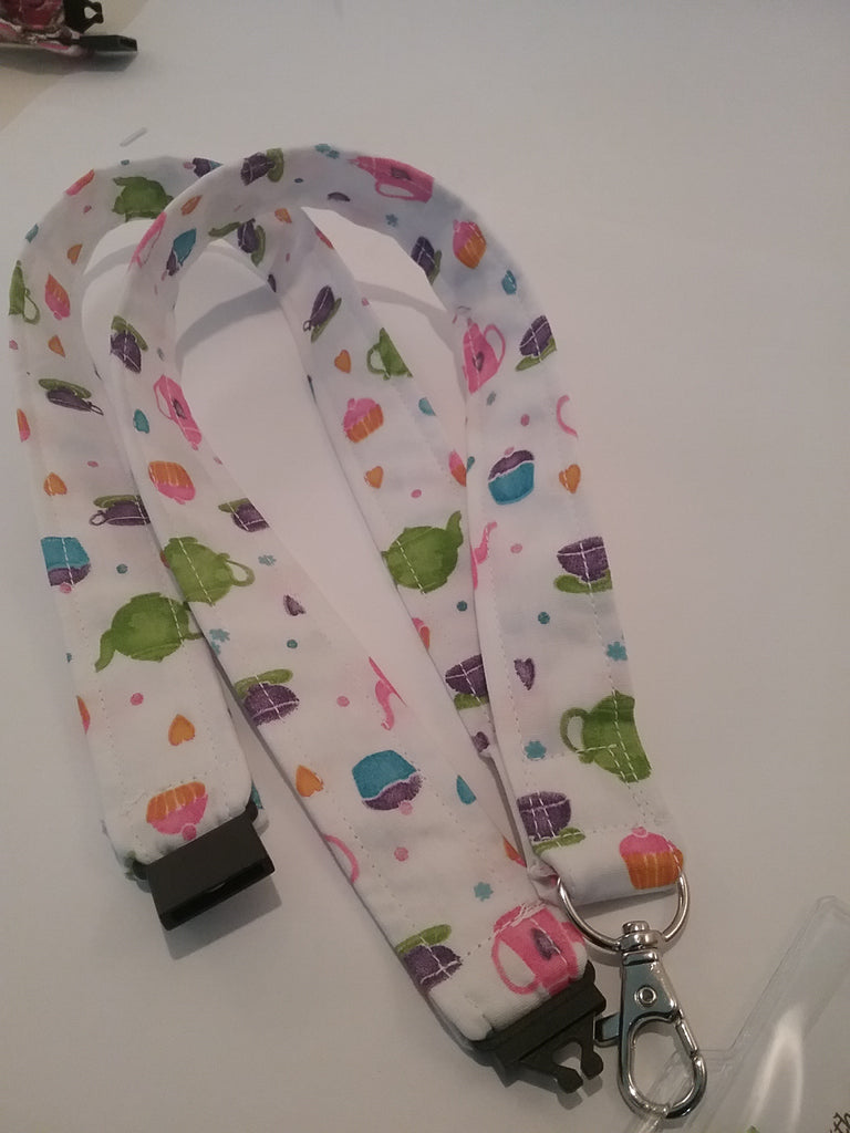 Cafe pattern fabric with cupcakes teapots etc lanyard with safety breakaway landyard id or whistle holder neck strap teacher gift - Tilly Bees