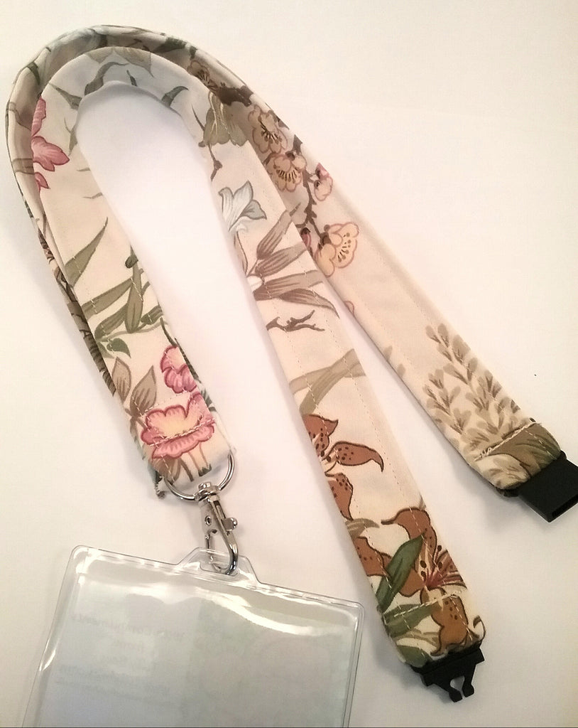 Cream floral fabric lanyard with safety breakaway landyard id or whistle holder neck strap teacher gift - Tilly Bees