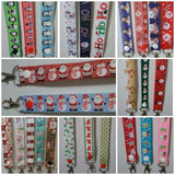 CHRISTMAS LANYARDS santa & snowman red or blue ribbon safety breakaway lanyard id or whistle holder - Tilly Bees
