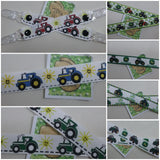 1 x pair of kids MITTEN CLIPS 7 different green red or blue Tractor patterns to choose from glove savers boys girls - Tilly Bees