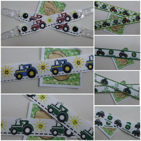 1 x pair of kids MITTEN CLIPS 7 different green red or blue Tractor patterns to choose from glove savers boys girls