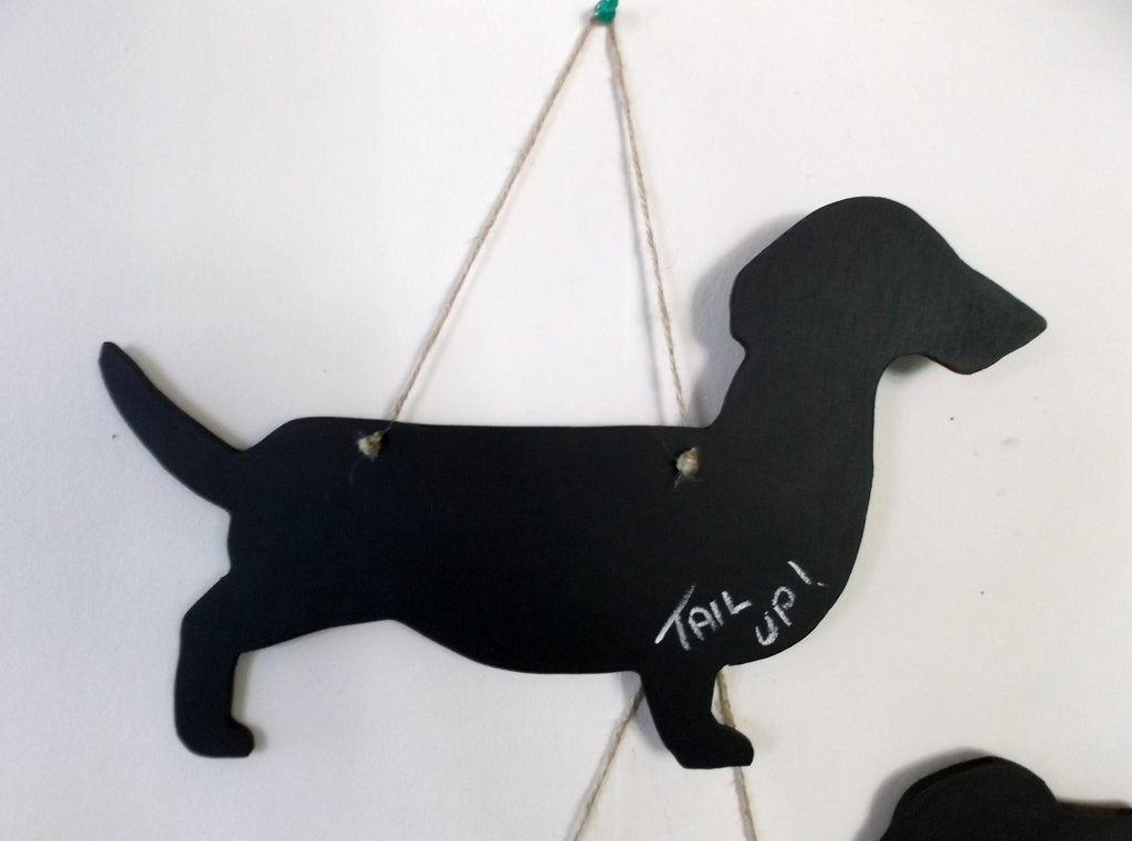Dachshund Tail Up Dog Shaped Black Chalkboard handmade from moisture resistant MDF - Tilly Bees