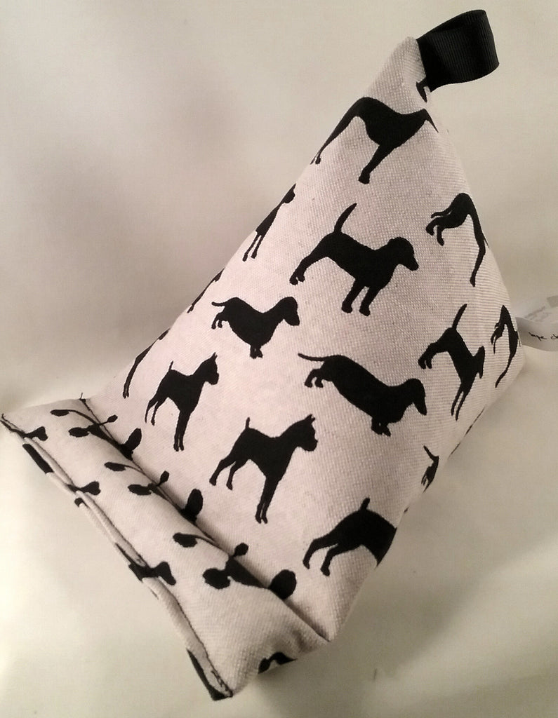 Silhouettes of dogs dogs & more dogs on this patterned fabric  TABLET STAND Bean bag cushion kindle ipad pillow ebook book stand fabric ideal any small electronic device great gift idea - Tilly Bees