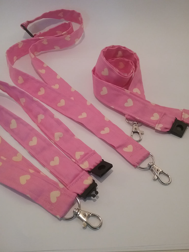 Yellow heart on bright pink fabric lanyard with safety breakaway landyard id or whistle holder neck strap teacher gift - Tilly Bees