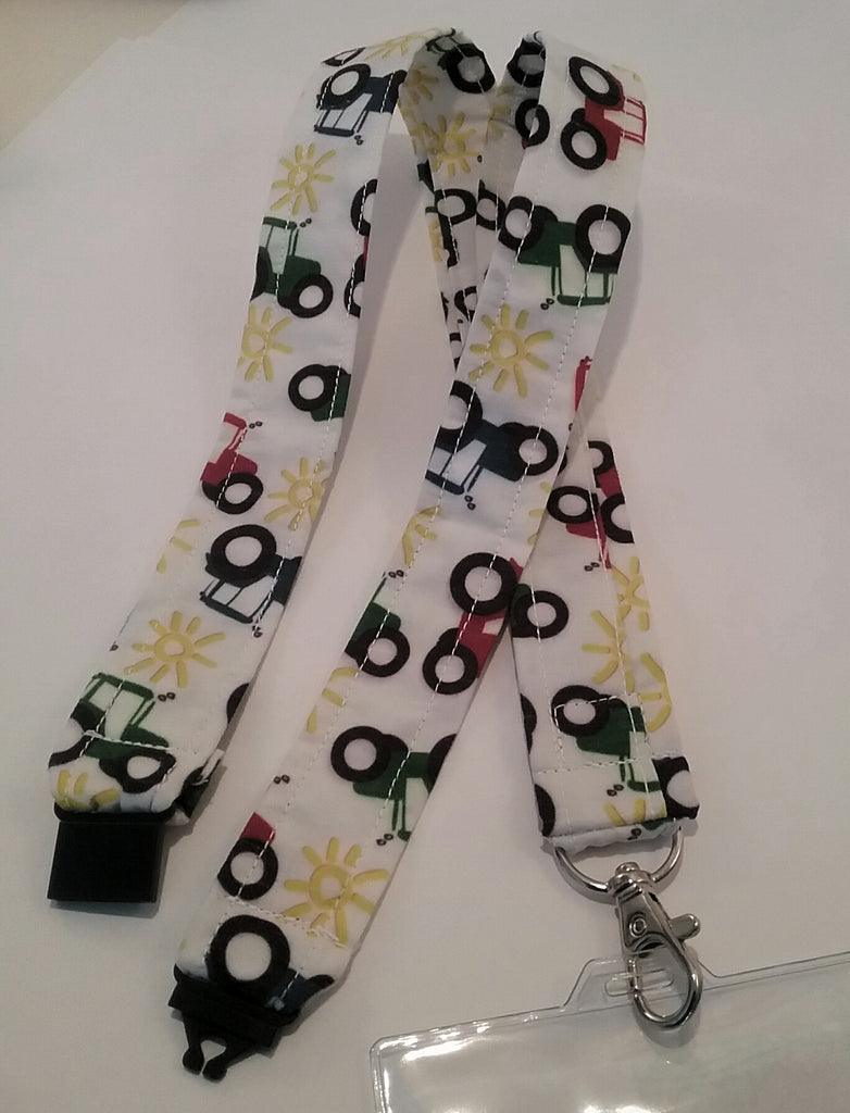 Unique red blue & green tractor fabric lanyard with safety breakaway landyard id or whistle holder neck strap teacher gift - Tilly Bees