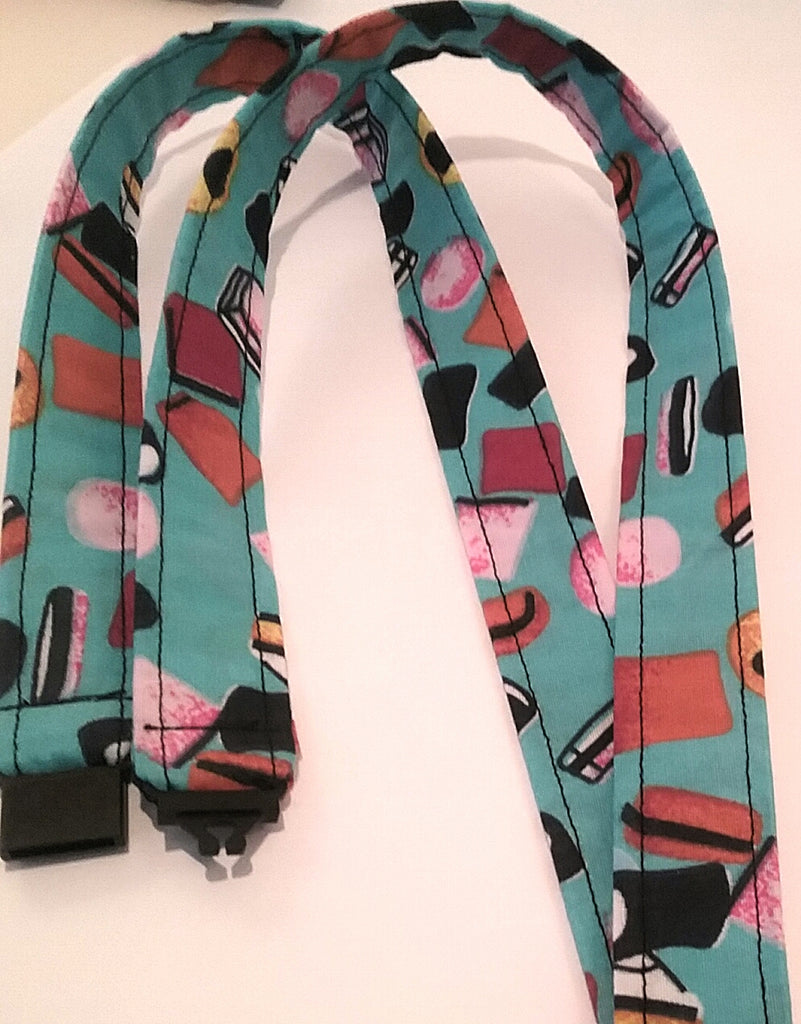 Liquorice sweets on a blue fabric lanyard with safety breakaway landyard id or whistle holder neck strap teacher gift - Tilly Bees