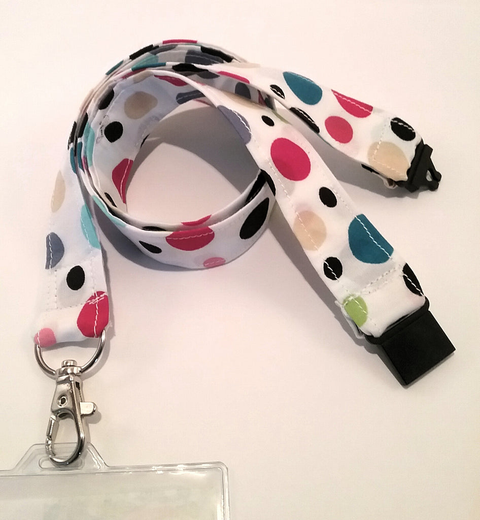 Bright coloured balls bubbles on white fabric lanyard with safety breakaway landyard id or whistle holder neck strap teacher gift - Tilly Bees