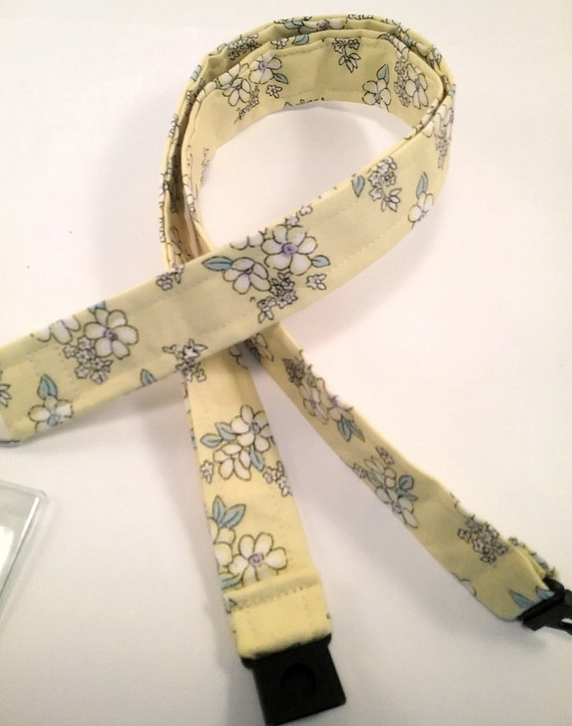 Yellow ditsy floral fabric lanyard with safety breakaway landyard id or whistle holder neck strap teacher gift - Tilly Bees