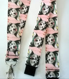 HUSKY Akita Alaskan Malamute Dog patterned ribbon Lanyard it has a safety breakaway fastener with swivel lobster clasp lanyard id or whistle holder - Tilly Bees