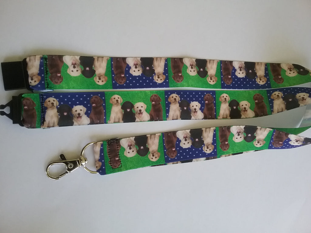 Labrador Dog patterned ribbon Lanyard it has a safety breakaway fastener with swivel lobster clasp lanyard id or whistle holder - Tilly Bees